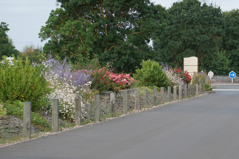 Schön bepflanzter Seitenrand am Radweg