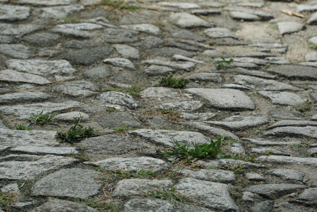Alle Straßen im Dorf mit grobem Kopfsteinpflaster
